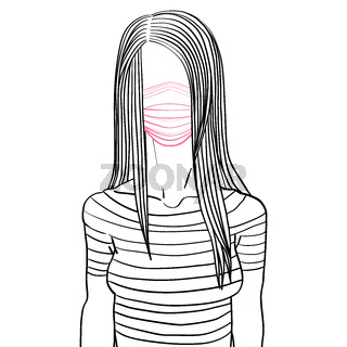 long hair side part woman mask avatar
