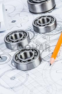 Ball bearings on technical drawing