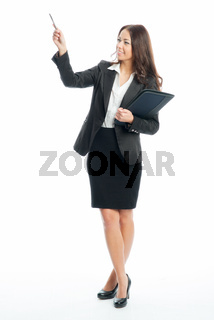 geschäftsfrau hält präsentation