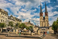 Halle Saale, Germany - June 21, 2019 - Hall Market with a fountain and St. Mary's Church