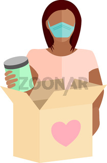 Woman Donating Food Concept Vector