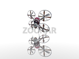 camera drone on white background - 3d rendering