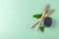 Natural bamboo tooth brushes and black dental powder