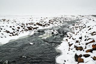 River before Snaedufoss waterfall, Iceland