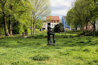 Bernau near Berlin, Germany - 04/30/2019 - city park with sculpture