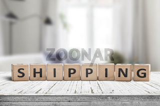 Shipping sign on a wooden desk
