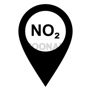 Stickstoffdioxid und Kartenmarkierung - Nitrogen dioxide and location pin