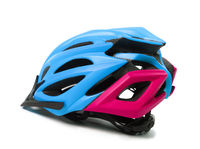Multicolor bicycle helmet on white background