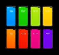 Rainbow colorful smartphone set isolated on black. 3D render
