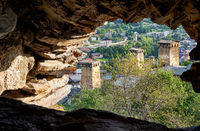 View from the window of fort tower koki on georgian town Mestia. Georgia, Svaneti