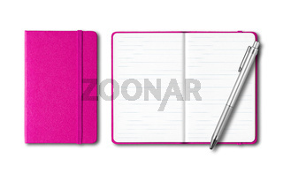 Pink closed and open notebooks with a pen isolated on white