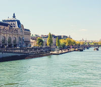 Banks of River Seine, historical buildings and classic architecture in Paris, France