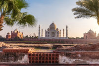 Taj Mahal view from the Mehtab Bagh and the pool ruins, Agra, India