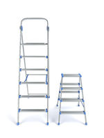 Two aluminum stepladders
