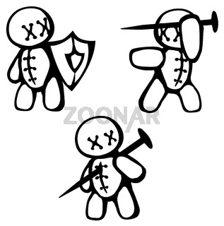 Voodoo Doll Fighting Stencil