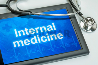 Tablet with the medical specialty Internal medicine on the display