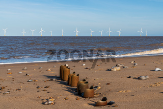 North sea coast in Caister-on-Sea, Norfolk, England, UK