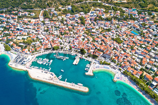 Town of Baska Voda beach and waterfront aerial view