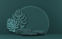 Mock up podium for product presentation three rocks with tropical leafs 3D