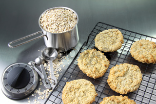 Oatmeal cookies on cooling rack