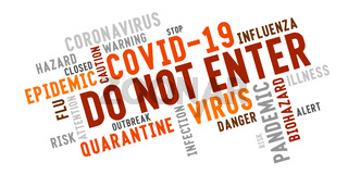 Coronavirus keyword cloud typography labeled Do Not Enter.