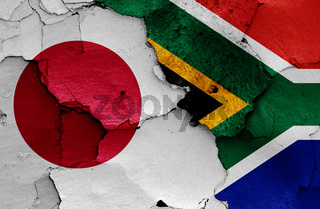 flags of Japan and South Africa painted on cracked wall