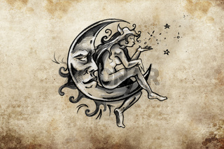fairy sitting on the moon, Tattoo sketch, handmade design over vintage paper