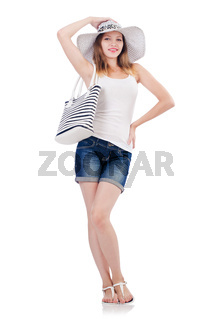 Young attractive woman in summer vacation isolated on white