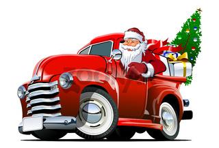 Cartoon retro Christmas pickup