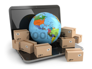 World wide delivering. Earth and boxes on laptop.