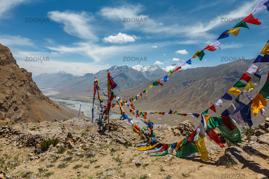 Buddhist prayer flags lungta in Spiti Valley in Himalayas