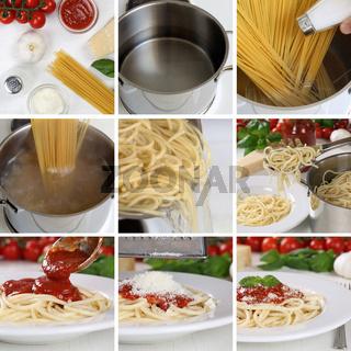 Spaghetti Nudeln Pasta mit Tomaten Sauce und Basilikum kochen: Anleitung Schritt für Schritt