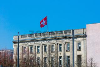 Berlin Schweizer Botschaft, Schweizer Flagge Fahne, Regierungsviertel, Diplomatie, Botschafter