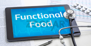 The word Functional Food on the display of a tablet