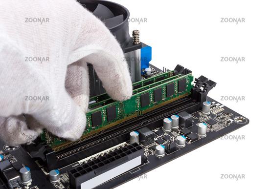Installing memory module in DIMM slot on modern PC