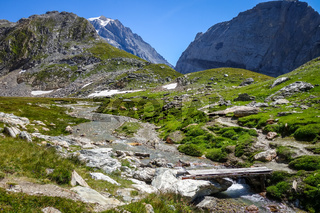Mountain river and wood bridge in Vanoise national Park valley, French alps