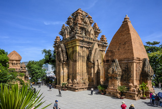 Cham Towers of Ponagar in the city of Nha Trang in Vietnam. Clear Sunny day January 11, 2020