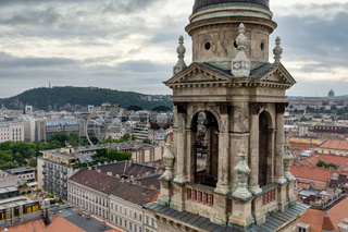 Aerial city view from Saint Stephen's Basilica in Budapest, Hungary
