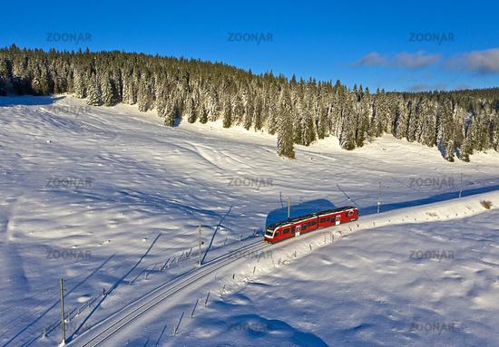 Train at the pass Col de la Givrine, St-Cergue, Vaud, Switzerland