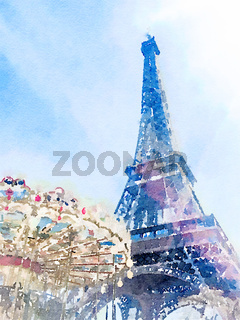 Watercolour art of Eiffel Tower and blue sky, famous landmark in Paris, France