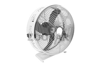 Modern metal gray fan for cooling large rooms 3d rendering on white background no shadow