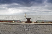 Buoy and bollard in the inner harbor, Wilhelmshaven