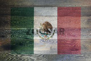 Mexico flag on rustic old wood surface background