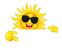 Joyful sun in sunglasses points a hand