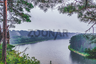 Dramatic Mystic Landscape on a Foggy River. Amazing River and Forest Landscape