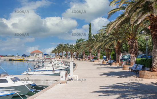 Waterfront of Baska Voda at Makarska Riviera,adriatic Sea,Dalmatia region,Croatia