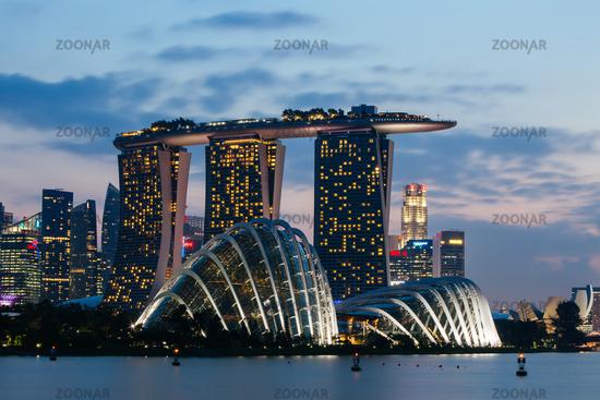 Singapore Skyline View at Night