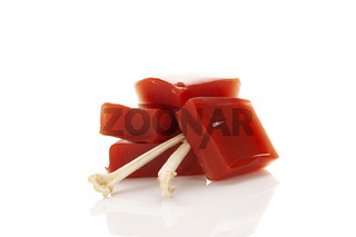 Gelatin jelly isolated on white background.
