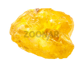 rough Sulphur (Sulfur) nugget isolated on white