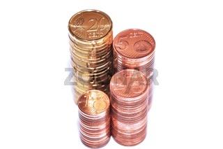 Stapel Euro Münzen
